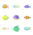 Sea life icons set cartoon style vector image vector image