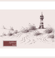 sea shore and lighthouse beach hand drawing vector image vector image