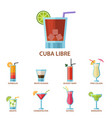 set alcoholic cocktails fruit cold drinks vector image vector image