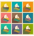Set of flat icons with long shadow boat sailboat vector image vector image