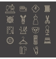 Sewing Equipment and Needlework Icons vector image vector image