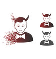 shredded pixelated halftone devil icon with face vector image vector image