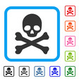 skull and crossbones framed icon vector image vector image