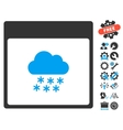 Snow Cloud Calendar Page Icon With Bonus vector image vector image