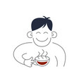tea man holds cup and coffee concept vector image