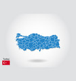 turkey map design with 3d style blue turkey map vector image vector image