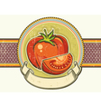 Vintage red tomatos label on old paper background vector image vector image