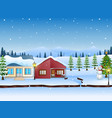 winter landscape with mountains and snowy house vector image