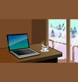 working desk with laptop and coffee beside the vector image