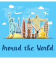 World landmarks sticker icons set vector image