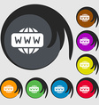 WWW icon sign Symbols on eight colored buttons vector image