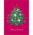 beautiful christmas tree christmas card vector image
