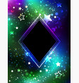 black rhombus with northern lights vector image