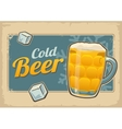 Vintage poster cold beer and snowflake Retro vector image