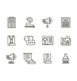 SMM flat line icons collection vector image