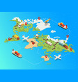 isometric global logistic network template vector image