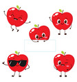 apple character with funny face vector image vector image