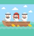 arab businessman team rowing boat in sea wave vector image vector image