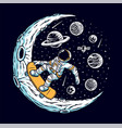 astronaut skateboarding on moon vector image