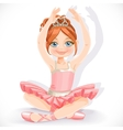 Ballerina girl in pink dress sit on floor isolated vector image vector image