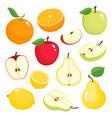 bright set of colorful apple pear lemon vector image