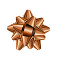 bronze holiday bow on white background vector image vector image