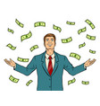 businessman and money rain pop art vector image vector image