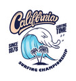 california surfing championship emblem template vector image vector image