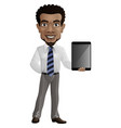 cartoon businessman holding a tablet vector image vector image