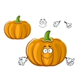 Cartoon orange ripe pumpkin vegetable character vector image vector image