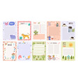 childish cute agenda set appointment notebook vector image vector image