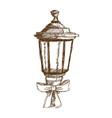 christmas lantern and bow ribbon vintage vector image vector image