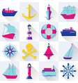 collection of ship and nautical icons in flat vector image vector image