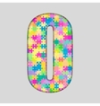 Color Piece Puzzle Jigsaw Letter - O vector image