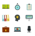 Company icons set flat style vector image
