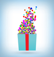 confetti with gift box on blue vector image vector image