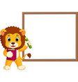 cute lion cartoon with whiteboard vector image vector image