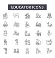 educator line icons for web and mobile design vector image vector image