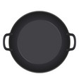 empty frying pan top view isolated on white vector image