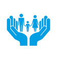 family together protection hands pictogram vector image