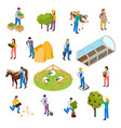 farm life isometric set vector image vector image