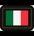 flag of italy icon on black leather backdrop vector image vector image