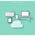 Flat cloud computing and social media background vector image