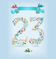 floral number twenty three with ribbon and birds vector image vector image