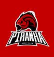 furious piranha sport logo concept isolated vector image vector image