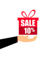 gift box on the hand with a 10 percent discount vector image vector image