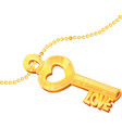 golden love key with stylized cuts vector image vector image