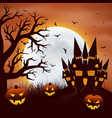 halloween background with pumpkins and castel vector image