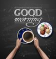 hands holding cup coffee coffee break vector image