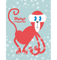 Happy Christmas Red monkey symbol of new year Cute